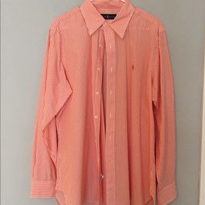 Orange and white stripe dress shirt